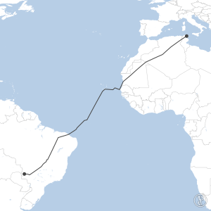Map of flight plan from DTTA to SSBY