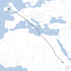 Map of flight plan from EIDW to HAAB