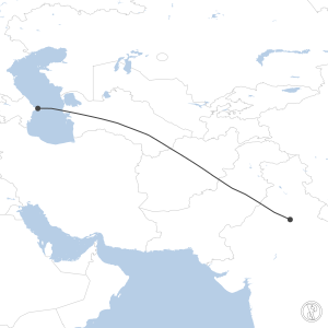 Map of flight plan from VIDP to UBBB