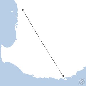 Map of flight plan from YPPH to YABA