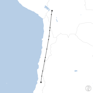 Map of flight plan from SCEL to SLLP
