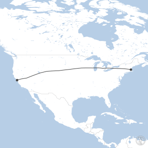 Map of flight plan from KBOS to KSFO