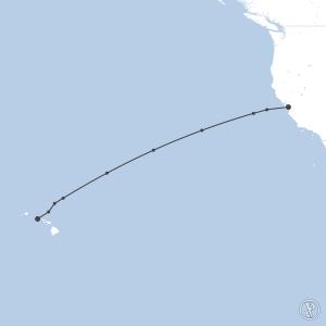 Map of flight plan from KSJC to PHNL
