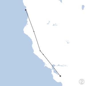 Map of flight plan from KSJC to KCEC
