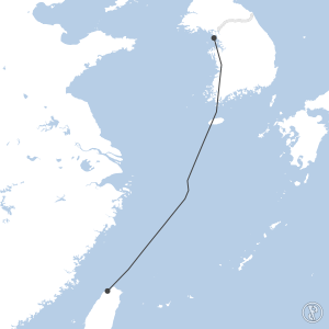 Map of flight plan from RKSI to RCTP