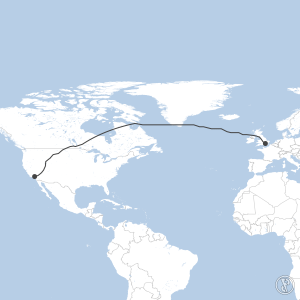 Map of flight plan from KPMD to EGLL