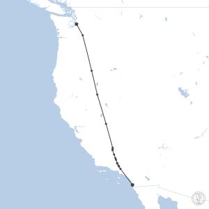 Map of flight plan from KSEA to KSAN