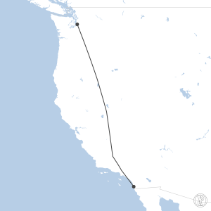 Map of flight plan from KSEA to KSAN