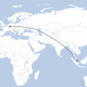 Map of flight plan from EDDF to WSSS