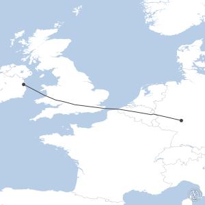 Map of flight plan from EDDF to EIDW