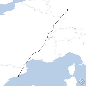 Map of flight plan from EDDF to LEBL