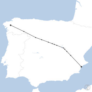 Map of flight plan from LEAL to LEST