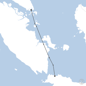 Map of flight plan from WIII to WSSS