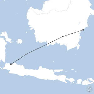 Map of flight plan from WIII to WALL