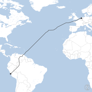 Map of flight plan from SPJC to EHAM