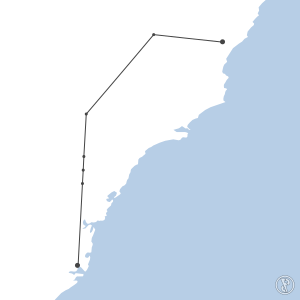 Map of flight plan from YTRE to YSSY