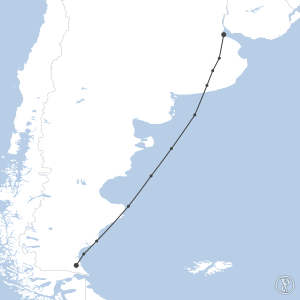 Map of flight plan from SAWG to SABE